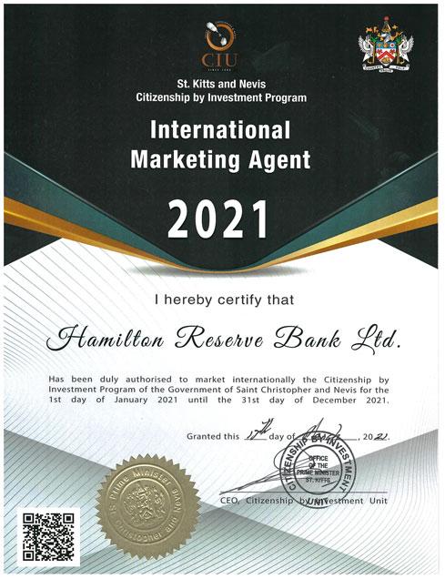 Hamilton Reserve Bank International Marketing Agent